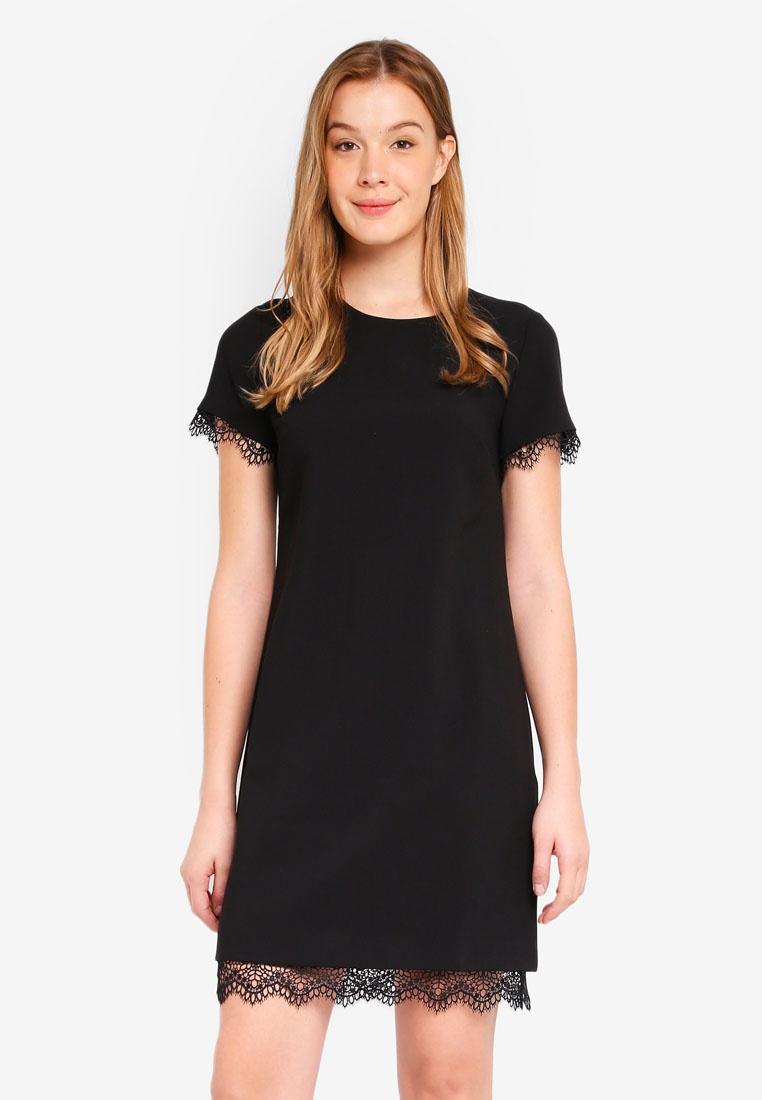 a0c8657023 Black Lace Short Sleeve Shift Dress - Gomes Weine AG