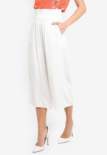 FORCAST white Clementine Shirred Waist Culottes 4C66DAAA21ADA9GS_1