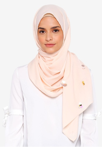 Lubna beige Crepe Shawls and Scattered Sequin 7F737AAEDA7627GS_1
