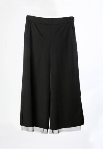 Giordano Ladies black Tulle Layering Cropped Pants 2069EAA4B8713CGS_1