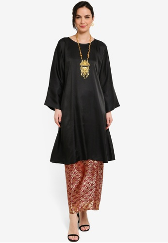 Yans Creation black and brown KAYLA Kurung Pahang Moden EEC31AA49C6421GS_1