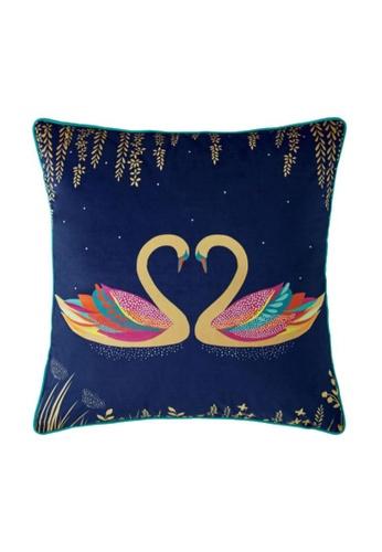 Sara Miller blue Sara Miller London - Cushion 50x50cm - Navy Swan 9EE38HLFCDEAD4GS_1