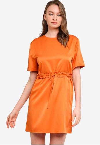 ZALORA WORK orange Drawstring Short Sleeve Mini Dress A6C1AAA5B01A8AGS_1