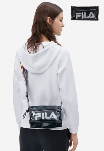 FILA navy FILA Logo Patent Leather Crossbody Bag 69A33AC34BD069GS_1