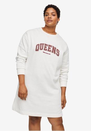 Violeta by MANGO white Plus Size Organic Cotton Sweatshirt Dress 95741AA3BD7EC9GS_1