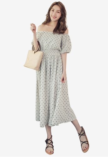Eyescream white Polka Dot Off Shoulder Midi Dress 6ED5DAA309191EGS_1