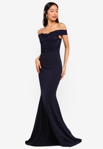 MISSGUIDED navy Bardot Lace Detail Fishtail Maxi Dress A2AD8AAA88086DGS_1