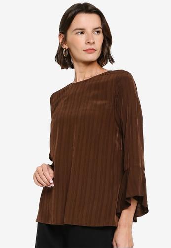ZALIA BASICS 褐色 Angel Sleeve Top 0D5D4AAFA02EB0GS_1