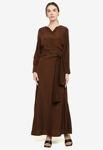 ZALIA BASICS 褐色 V-Neck Wrapped Dress FFA94AA8CF31F8GS_1