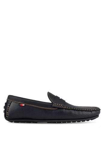 UniqTee black Perforated Moccasins With Strap Detail UN097SH0S218MY_1