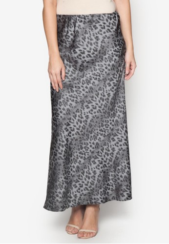 豹紋印花長裙, 服飾,zalora 順豐 長裙