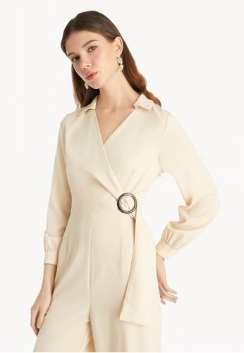 Pomelo multi Long Sleeve Buckled Jumpsuit - Cream FA543AA7F63DD4GS_1