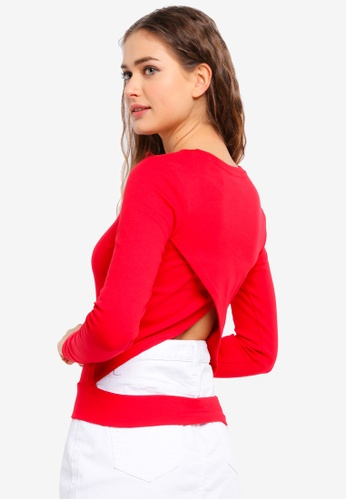 UniqTee red Open Back Long Sleeve Top 6E207AAB2E0AA5GS_1