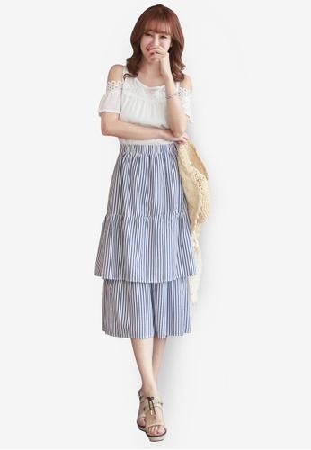 YOCO blue Layered Stripe Skirt YO696AA39EBOMY_1