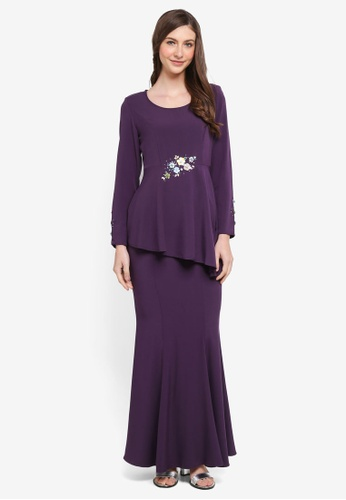 peace collections purple Floral Applique Peplum Kurung E7B7FAA9C3368BGS_1