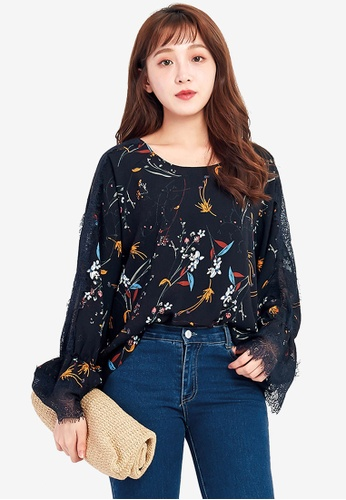 Tokichoi navy Oriental Printed Sleeved Blouse with Lace Detail 80E39AA344C8D2GS_1