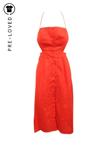 Reformation red Pre-Loved reformation Red Linen Maxi Dress with Buttons A6043AA1DB57DCGS_1