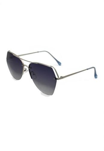 jojo silver Half Framed Screwed Detailed Slant Aviator Polarized Sunglasses 75B3AGL0DD982EGS_1