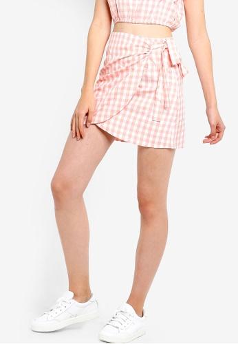 Something Borrowed 橘色 側綁帶交叉造型裙 E05FDAA946E243GS_1