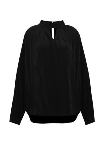 Korz black Mock Neck Long Sleeve Blouse 95480AA262B65EGS_1