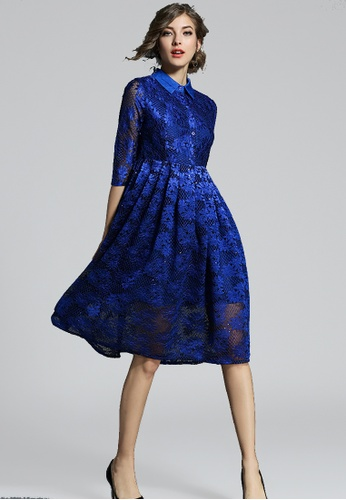 NBRAND blue Embroidery Sequin Lace A-Line Dress NB356AA0GQMESG_1