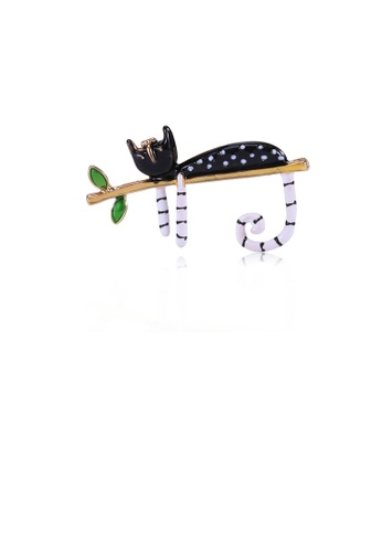 Glamorousky silver Simple and Cute Black Cat Brooch 618E8AC241D03FGS_1