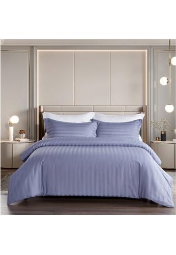 Epitex purple Epitex Supima Cotton 1200TC Bedsheet - Fitted Sheet Set - w/o quilt cover (Blue Ash) 3D05DHL7D76190GS_1