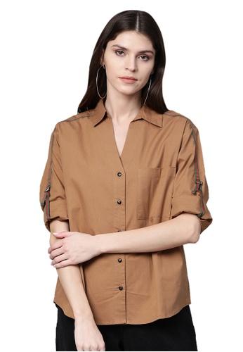 SASSAFRAS brown Brown Shoulder Tape Shirt B560FAA0F7E723GS_1