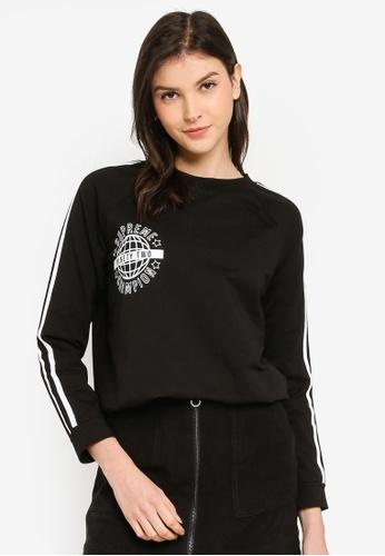 Brave Soul black Print And White Stripes Sweatshirt F7EB3AAB7A25CEGS_1