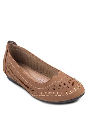 雕花仿麂esprit 價位皮娃娃鞋, 女鞋, 鞋