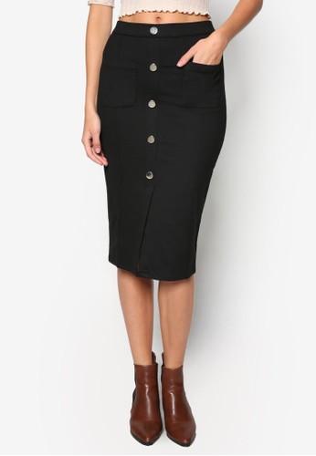 口袋鈕扣鉛筆裙, 服飾,zalora 衣服評價 裙子