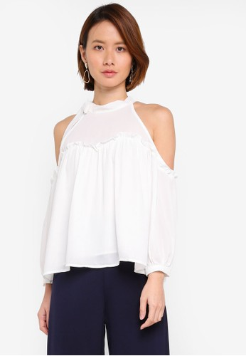 KLEEaisons white Cold Shoulder Tie Neck Top CE559AA9193576GS_1