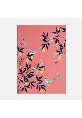 Sara Miller Sara Miler London -Coral Orchard Birds A5 Fabric Journal (SAM2112) F2D76HLAE8A64AGS_1