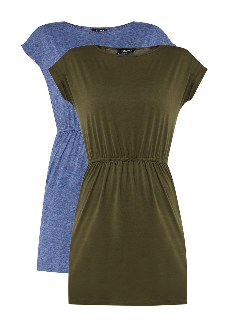 Dark Waist T Basic Green Blue Dress pack with 2 Marl ZALORA BASICS Shirt Gathered n6q1UAwB7