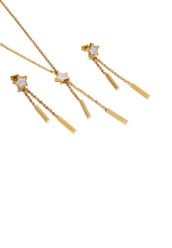 Glamorousky 白色 簡約時尚鍍金色星星鋯石流蘇316L鋼項鏈和耳環套裝 2DF4DACB764379GS_1