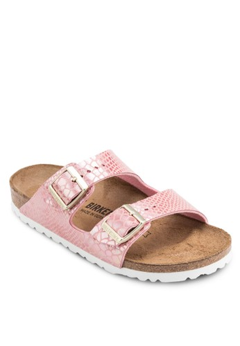 Arizoesprit 品牌na 暗紋扣環雙帶拖鞋涼鞋, 女鞋, 鞋