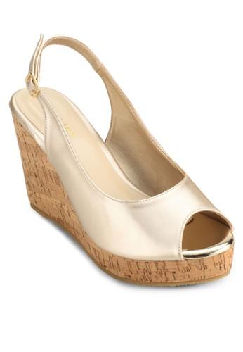 Faschino 露趾繞踝木紋楔型跟涼鞋, 女鞋, esprit outlet 桃園鞋
