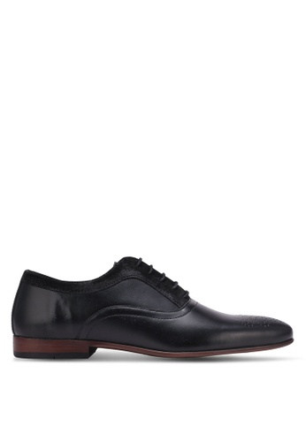 Topman black Black Leather Perforated Smart Shoes TO100SH0K85TPH_1