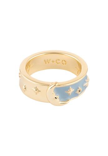 Wanderlust + Co gold Moonlit Blue & Gold Mantra Ring 0941DACDBFA0AFGS_1