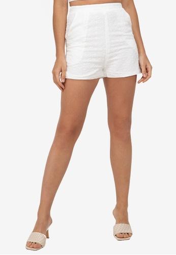 ZALORA BASICS white Co-Ord Broderie Shorts 4ECEBAA0FBB2DFGS_1