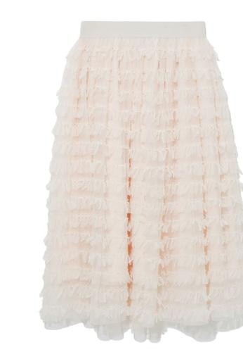 b+ab beige Lace ruffle skirt 77519AA5E479F7GS_1