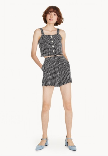 Pomelo white High Waisted Tweed Shorts - Black 61DF5AA789A9E6GS_1