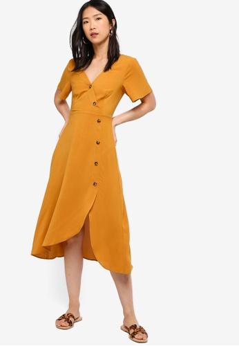 ZALORA BASICS yellow Basic Asymmetric Tea Dress 200D0AA2A3DAA4GS_1
