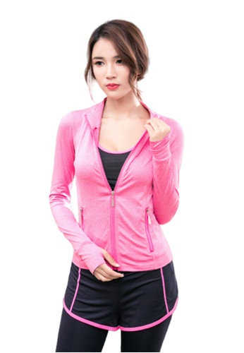 B-Code pink ZYG3075-Lady Quick Drying Running Fitness Yoga Sports Jacket -Pink EC3DAAA15DD318GS_1