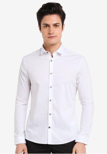 Burton Menswear London white White Skinny Fit Oxford Stretch Shirt E287DAA865682AGS_1