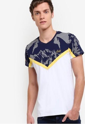 撞色迷彩印花短袖TEE, 服飾, 印圖zalora 台灣T恤