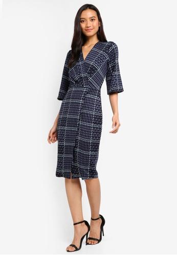 CLOSET navy Closet Bell Sleeve Wrap Dress 18FF2AAE29C0F4GS_1