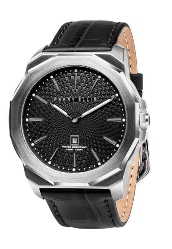 PERRY ELLIS silver Perry Ellis Decagon Men 46mm Quartz Watch 05002-01 73276ACF32DF90GS_1