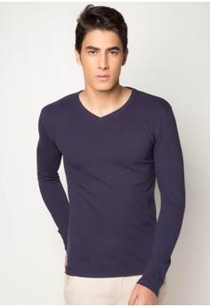 Men's Basic L/S V/N in Pique T-shirt