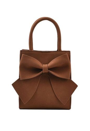 Lara brown Women's Bowknot Decorated Leather Zipper Handbag Cross-body Bag - Light Brown DAC3CACAFC8237GS_1